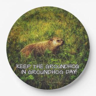 Plato De Papel Mantenga el Groundhog placa del día de la marmota