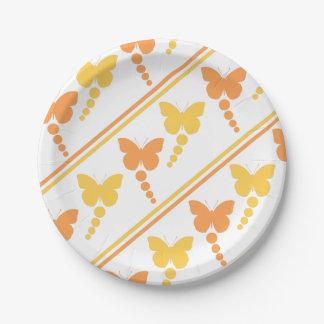Plato De Papel Mariposas anaranjadas y amarillas, puntos,