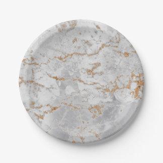 Plato De Papel Mármol gris blanco mínimo Silv sucio del oro de