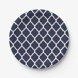 Plato De Papel Marroquí Quatrefoil del azul marino y blanco