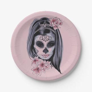Plato De Papel Máscara del esqueleto de la mujer