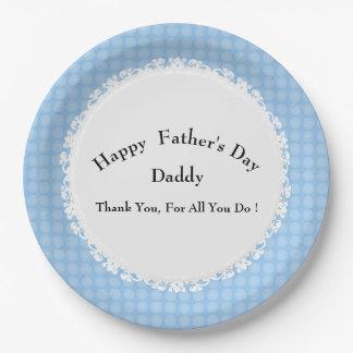Plato De Papel MOD-Azul-Punto-Padre-Día-Celebración-Plantilla