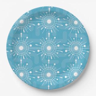 Plato De Papel MOD verde azulada moderna del copo de nieve de