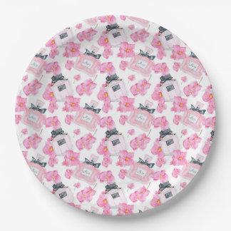 Plato De Papel Moda rosada Parfume de las flores