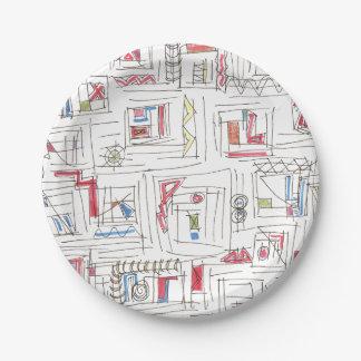Plato De Papel Modelo abstracto Portland-Caprichoso del Doodle