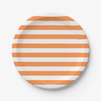 Plato De Papel Modelo anaranjado y blanco de la raya