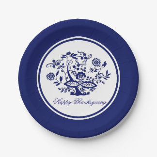 Plato De Papel Modelo azul de la cebolla su saludo o día de