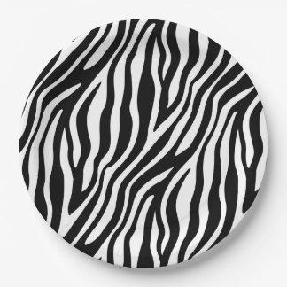 Plato De Papel Modelo blanco y negro de las rayas del estampado