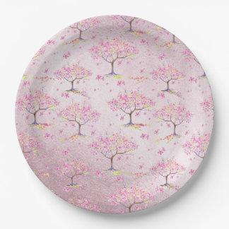 Plato De Papel Modelo brillante rosado de la primavera de la flor