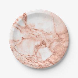 Plato De Papel Modelo color de rosa hermoso del mármol de la