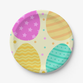Plato De Papel Modelo colorido lindo de los huevos de Pascua