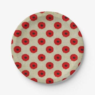Plato De Papel Modelo de flores rojo rústico