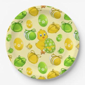 Plato De Papel Modelo del pollo de los huevos de Pascua pequeño
