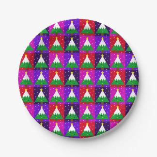 Plato De Papel Modelo enrrollado del árbol de navidad