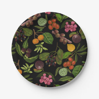 Plato De Papel Modelo exótico colorido pintado a mano de la fruta