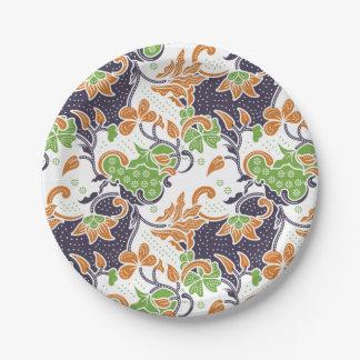 Plato De Papel Modelo floral artístico del batik de las vides
