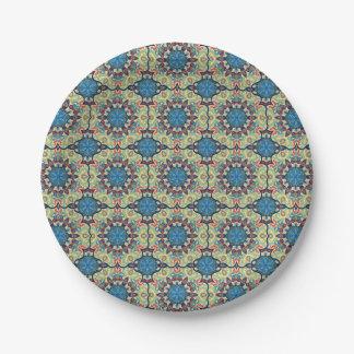 Plato De Papel Modelo floral étnico abstracto colorido de la