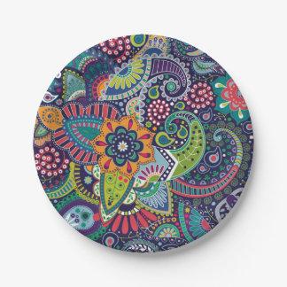 Plato De Papel Modelo floral multicolor de neón de Paisley