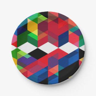 Plato De Papel Modelo geométrico brillante del diamante