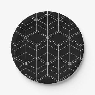 Plato De Papel Modelo geométrico negro y blanco de la escritura