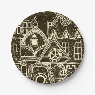 Plato De Papel Modelo incompleto de la ciudad vieja en fondo