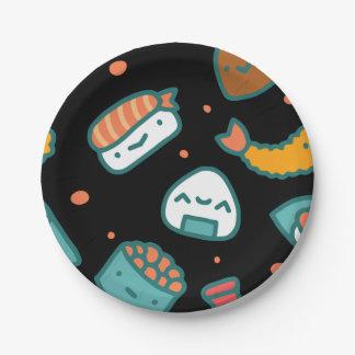 Plato De Papel Modelo inconsútil feliz lindo del sushi en negro