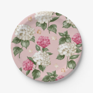 Plato De Papel Modelo inconsútil floral del Hydrangea rosado