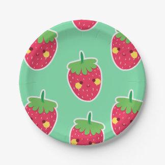 Plato De Papel Modelo lindo caprichoso del carácter de las fresas