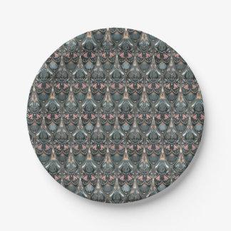 Plato De Papel Modelo militar del color del squama de lujo floral