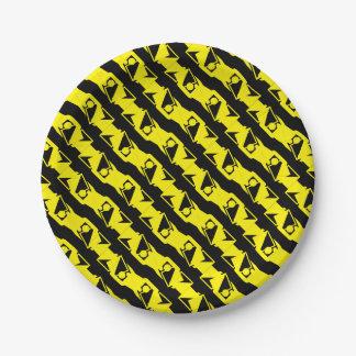 Plato De Papel Modelo moderno amarillo negro y brillante único y