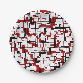 Plato De Papel Modelo rojo blanco negro de Digitaces Camo