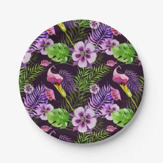Plato De Papel Modelo tropical púrpura negro de la acuarela de la