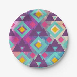 Plato De Papel Modelo vibrante colorido del batik del boho de la