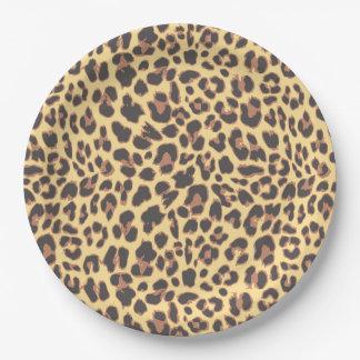 Plato De Papel Modelos de la piel animal del estampado leopardo