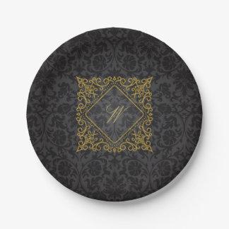 Plato De Papel Monograma adornado del diamante en el damasco