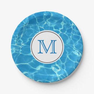 Plato De Papel Monograma azul chispeante del agua de la piscina