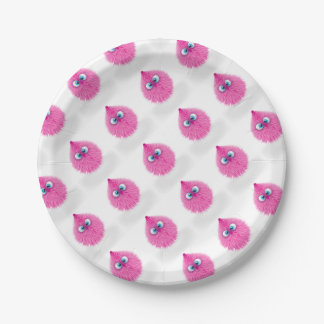 Plato De Papel Monstruo rosado mullido lindo