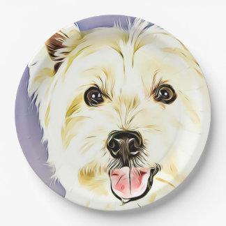 Plato De Papel Montaña Terrier blanco del oeste, Westie, perro,