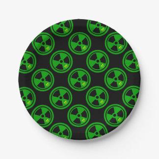 Plato De Papel Muestra radiactiva de la precaución con el cráneo