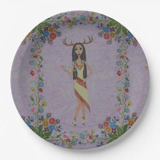 Plato De Papel Mujer de los ciervos (serie de la moda del cuento