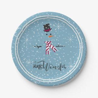 Plato De Papel Muñeco de nieve ID440 azul del navidad de la magia