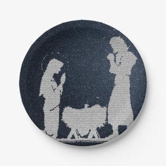 Plato De Papel Natividad azul texturizada