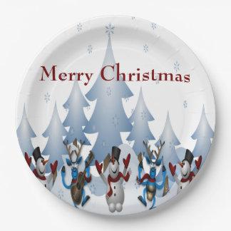 Plato De Papel Navidad banda linda del muñeco de nieve y del reno