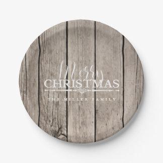 Plato De Papel Navidad de madera del país