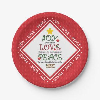 Plato De Papel Navidad del cristiano de la paz del amor de la