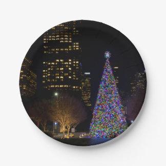 Plato De Papel Navidad en la noche del parque de Warren