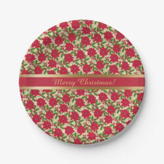 Plato De Papel Navidad hermoso Poinsettia, acebo, rama del pino