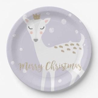 Plato De Papel Navidad lindo de la lila el   de los ciervos el  