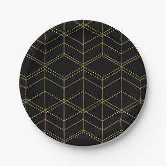 Plato De Papel Negro elegante de la escritura y modelo geométrico