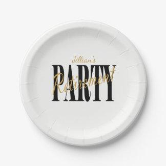 Plato De Papel Negro y placas del fiesta de retiro del oro